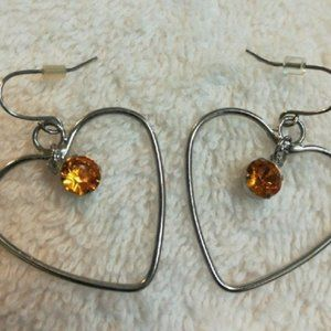Fashion Earrings HEARTS  Silver with orange stone